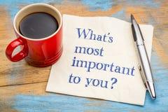 Vad är viktig till dig? royaltyfri bild