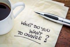 Vad önskar du att ändra? arkivfoton
