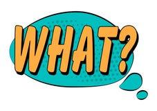 Vad? anförandebubbla i retro stil Royaltyfria Bilder