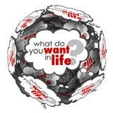 Vad dig önskar i ord för fråga för livtankemoln Arkivbilder