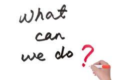 Vad kan vi göra? Arkivfoton