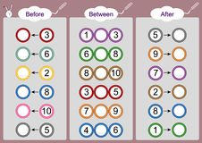 Vad kommer För-mellan och efter, matematikarbetssedlar för ungar Arkivfoto