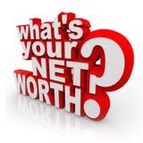 Vad är din för frågeslutsumman för netto värde redovisning för värde för rikedom Arkivfoton