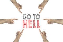 Vada all'inferno il concetto Mani intorno alla mostra all'iscrizione: vada all'inferno immagini stock libere da diritti