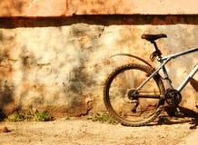 Vada in bicicletta alla parete un giorno pieno di sole Immagini Stock Libere da Diritti