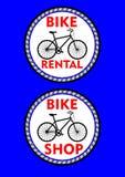 Vada in bicicletta l'affitto, il negozio della bicicletta, l'etichetta o l'insegna colorata due cerchi Siluetta e titolo neri del Fotografia Stock