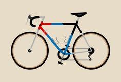 Vada in bicicletta la bici d'annata grafica dell'illustrazione che cicla visitando il nero blu rosso della corsa di strada royalty illustrazione gratis