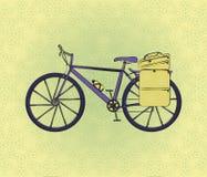 Vada in bicicletta la cartolina nel retro stile con il fondo del fiore Fotografia Stock
