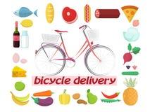 Vada in bicicletta la consegna dei frutti, le verdure, i prodotti, bicicletta Fotografia Stock