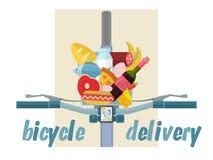 Vada in bicicletta la consegna dei frutti, le verdure, i prodotti, bicicletta Immagini Stock Libere da Diritti