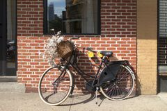 Vada in bicicletta la merce nel carrello dei fiori della bici parcheggiata contro il Br del fondo della parete immagini stock