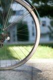 Vada in bicicletta la ruota della mezza parte posteriore su vecchio spirito italiano verde scuro della bici della donna fotografie stock