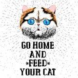 Vada a casa ed alimenti il vostro gatto illustrazione vettoriale
