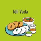 Vada de Idli ilustração indiana sul do vetor do alimento ilustração stock