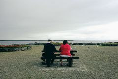Vada in giro alla baia Salthill di Galway, prenda una rottura e gli uccelli dell'orologio immagine stock