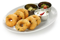 Vada, indian snack food. Vada is donut, made with urad dal flour, indian snack food royalty free stock images