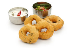Vada, indian snack food. Vada is donut, made with urad dal flour, indian snack food stock image