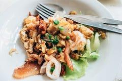 Vaddera thai eller thai mat på den wood tabellen Arkivfoto