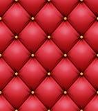 Vadderad modellvektor Röd läderstoppningbakgrund för en lyxig garnering seamless royaltyfri illustrationer
