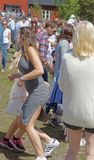 People dancing at the Maypole celebrating the Midsummer in Swede Royalty Free Stock Photography