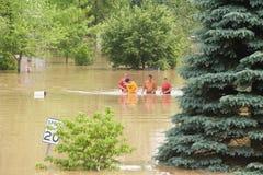 Vadear através da água da inundação Fotos de Stock