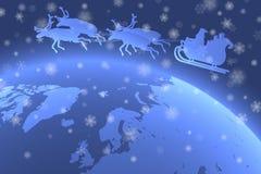 Vader Christmas die zijn ar over Aarde met dalende sneeuwvlokken in de voorgrond berijden stock illustratie