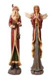 Vader Christmas en Angel Isolated Royalty-vrije Stock Afbeeldingen