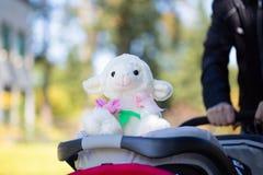 Vader die een babywandelwagen met stuk speelgoed duwen stock afbeeldingen
