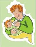 Vader die zijn baby voedt. Royalty-vrije Stock Foto's