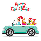 Vader Driving Car With Zijn Familie royalty-vrije illustratie