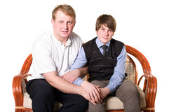 Vader en adolescentiezoon Royalty-vrije Stock Fotografie