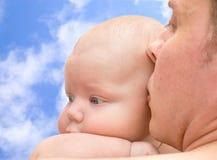 Vader en baby Royalty-vrije Stock Foto's
