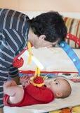 Vader en baby stock foto