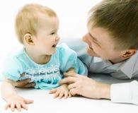 Vader en baby stock foto's