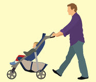 Vader en Baby met Wandelwagen Stock Afbeeldingen