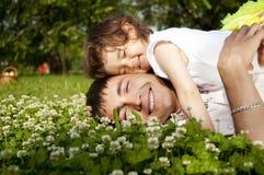 Vader en de dochter samen Stock Foto