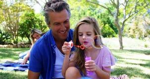 Vader en dochter blazende bel met bellentoverstokje bij picknick in park 4k stock videobeelden