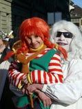 Vader en dochter in Carnaval Stock Foto