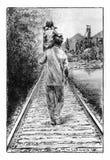 Vader en dochter op de spoorweg Stock Afbeelding