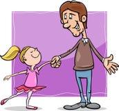 Vader en dochterbeeldverhaalillustratie Royalty-vrije Stock Afbeeldingen