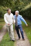 Vader en gegroeide zoon die langs weg lopen royalty-vrije stock foto's