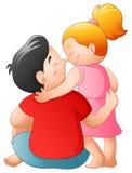 Vader en haar dochter die samen koesteren vector illustratie