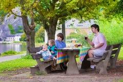 Vader en jonge geitjes bij picknick Stock Foto's