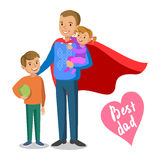 Vader en jonge geitjes Vader-Superhero met zijn kinderen vector illustratie