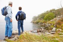 Vader en jonge volwassen zoon die zich door een meer bevinden die de mening bewonderen royalty-vrije stock foto's