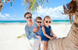 Vader en twee jonge geitjes op palm royalty-vrije stock fotografie