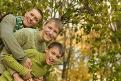 Vader en zonen in de herfstpark Stock Foto