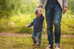 Vader en zoon die in het bos op de zomerdag lopen Weinig hand van de kindholding van een mens Stock Afbeelding