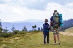 Vader en zoon die met rugzakken samen in toneel de zomer groene bergen wandelen Papa en kind die genietend landschaps van berg be stock foto's