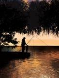Vader en zoon die op meerconcept vissen Royalty-vrije Stock Foto's